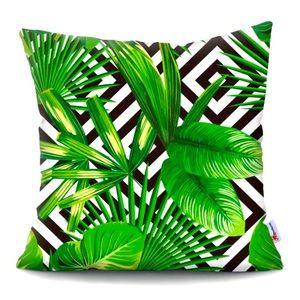 Cool Palm Monstera Geometric Print Pillow Cover